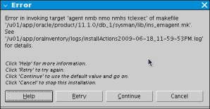 Oracle11g error di Fedora 11