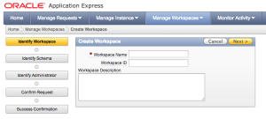 Create Workspace Oracle XE 11g