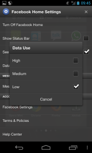 Facebook Home Settings